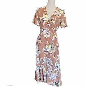 Short flutter sleeve wrap maxi dress floral tan